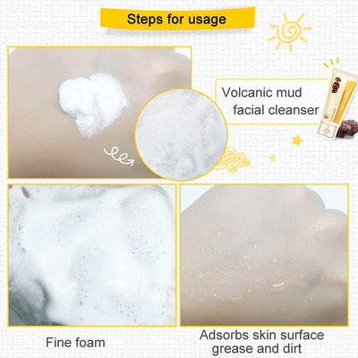 Volcanic Mud Facial Cleanser Pore Terminator Cleansing Rich Foaming Oil Control Moisturizing Face Cleanser Face Skin Care