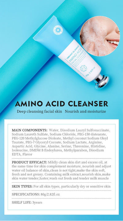 VIBRANT GLAMOUR Amino Acid Facial Cleanser Oil Control Plant Essence Moisturizing Shrink Pores Remove Acne Whitening Facial care