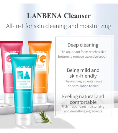 LANBENA Facial Cleanser Face Wash Foam Face Cleansing Face Scrub Moisturizing Deep Cleansing Oil Control Shrink Pore Facial Care