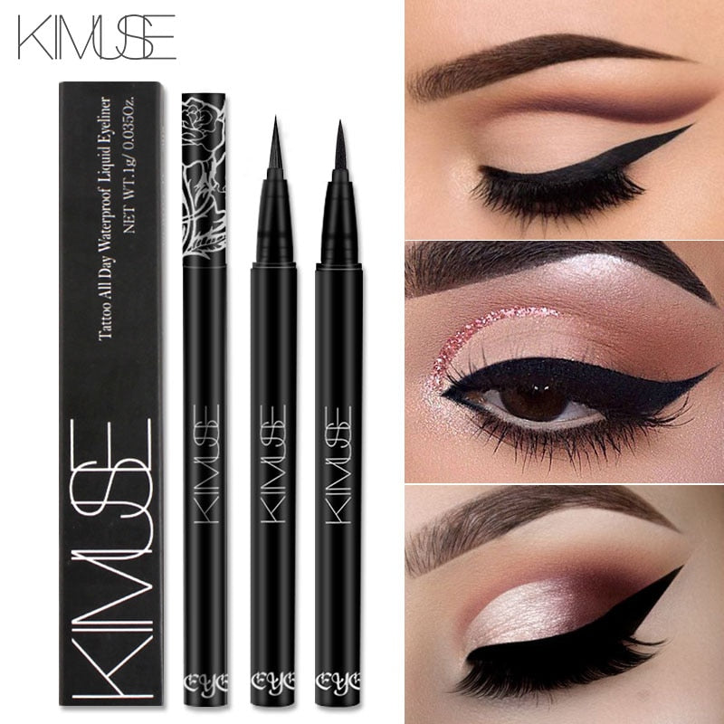 KIMUSE Black Long lasting Waterproof Liquid Eyeliner Eye Liner Pen Pencil Makeup Rose Crayon Highlighter Cosmetic Eyeshadow Tool