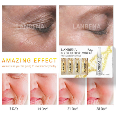 LANBENA Face Serum Hyaluronic Acid Vitamina C 24K Gold Retinol Anti Aging Wrinkle Moisturizing Whitening Firming Acne Treatment