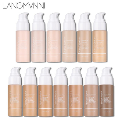 Langmanni 30ml Liquid Foundation Soft Matte Concealer 13 Colors Primer Base Professional Face Make up Foundation Contour Palette