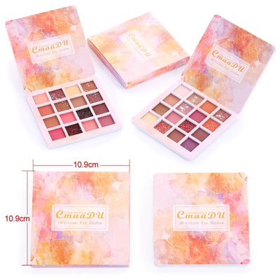 Long lasting Waterproof Eye Shadow Natural Eyes Makeup 16 Colors Eyeshadow Palette Cosmetics Diamond Glitter Shiny Matte