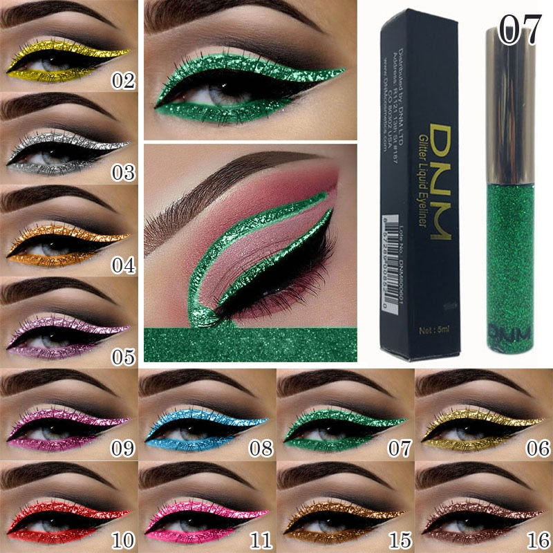 Metallic Shiny Smoky Eyes Eyeshadow Makeup Waterproof Glitter Liquid Eyeliner Smooth Not Smudge Beauty Makeup