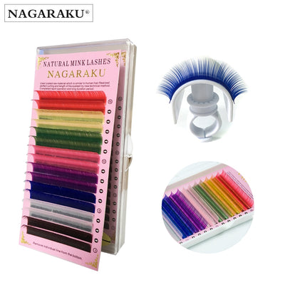 NAGARAKU Mix Color Eyelashes Make up High Quality Soft Natural Synthetic Mink Rainbow Eyelash 8 Colors Mix