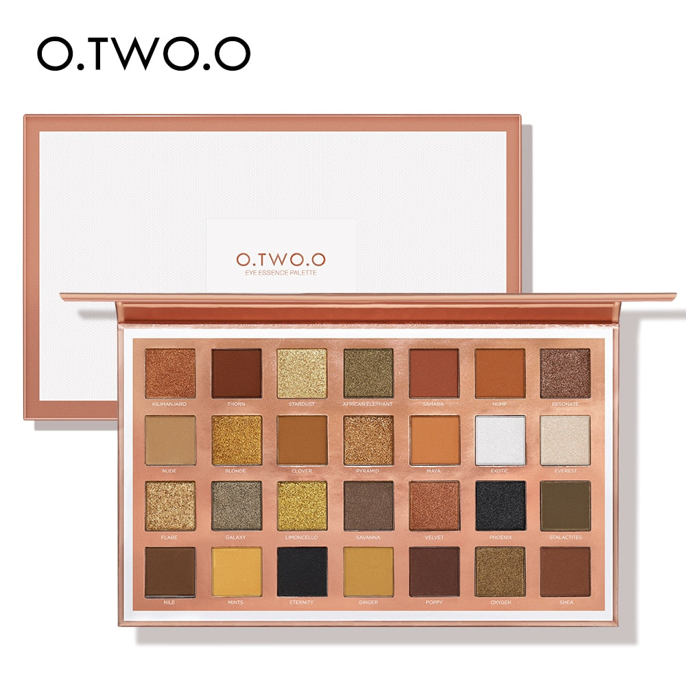 O.TWO.O 28 Colors Eyeshadow Palette Shiny Matte Glitter Smoky Eyes Waterproof Eye Shadow Pallete High Pigment Metallic Makeup