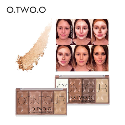 O.TWO.O Contour Palette Face Shading Grooming Powder Makeup 4 Colors Long Lasting Face Make Up Contouring Bronzer
