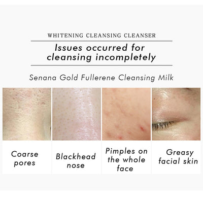 SENANA Gold Fullerene Cleansing Milk cream Moisturizing Anti Acne Blackhead Bright white Balance water and oil Deep Cleaning