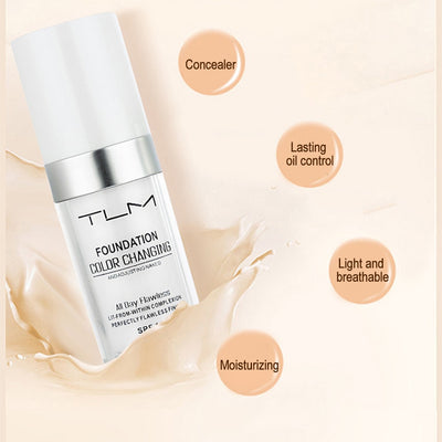 TLM 30ml Temperature Change Complexion Liquid Foundation Cream Concealer Hydrating Makeup Coverage Base Cosmetics Primer