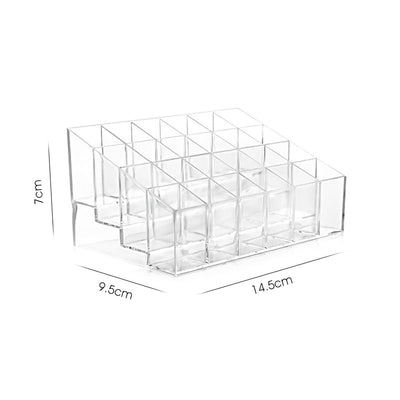 Transparent 24 Grids Acrylic Makeup Organizer Lipstick Holder Display Rack Case Cosmetic Nail Polish Make Up Organiser Tool