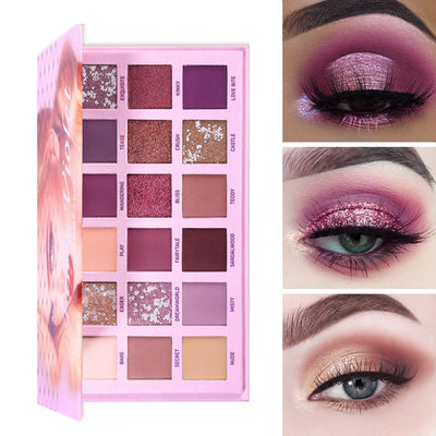 UCANBE Changeable Pink Violet Nude Eye Shadow Palette Makeup 18 Colors Matte Shimmer Glitter Eyeshadow Powder