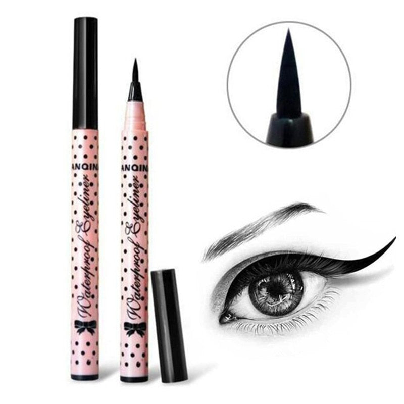 Ultimate 1 Pcs Black Long Lasting Eye Liner Pencil Waterproof Eyeliner Smudge Proof Cosmetic Beauty Makeup Liquid Pink dots