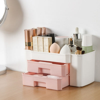 YiCleaner Makeup organizer Plastic Cosmetics Box Large Makeup Holder Nail Polish Organizer Swabs Holder Bathroom storage box