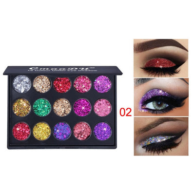 15 Colors Glitter Eyeshadow Makeup Pallete Matte Eye Shadow Palette Shimmer and Shine Diamond Eyeshadow Powder Pigment