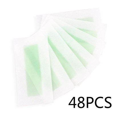 48pcs Professional Hair Removal Wax Strips For Depilation Double Sided Natural Cold BeesWax Paper For Face Lip Hair Eyebrow Leg