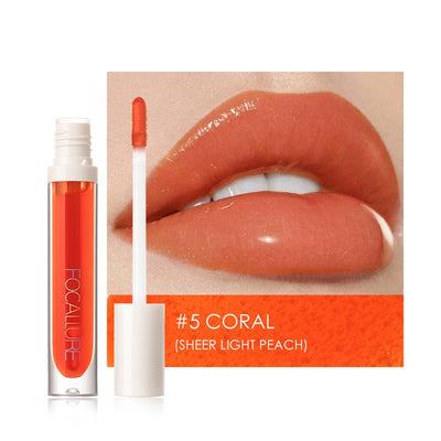 FOCALLURE PLUMPMAX Nourise Lip Glow High Shine&Shimmer Glossy Lips Makeup Non Sticky Plumping Lip Gloss