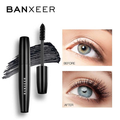 BANXEER Fluffy Volume Mascara Makeup 4D Silk Fiber Lash Mascara Waterproof 3d Mascara Extension Thick Long Curling Eyelash