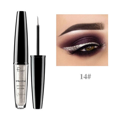 Pudaier 16 Colors Liquid Eyeliner Metallic Eye Liner Pencil Waterproof Makeup Glitter Shimmer