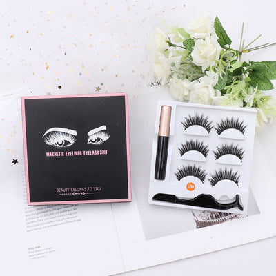 LIYATTON Magnetic Liquid Eyeliner Eyelashes Kit Magnet 3D Eyelashes Natural Curler Reusable False Eyelash