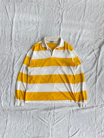 80s Yellow Striped Rugby Size S