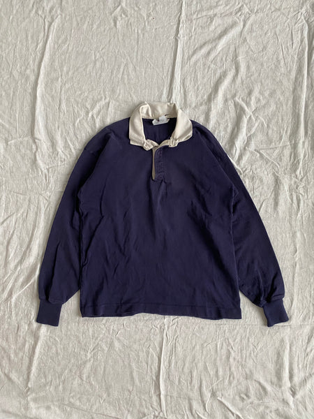 80s Navy Rugby Size L