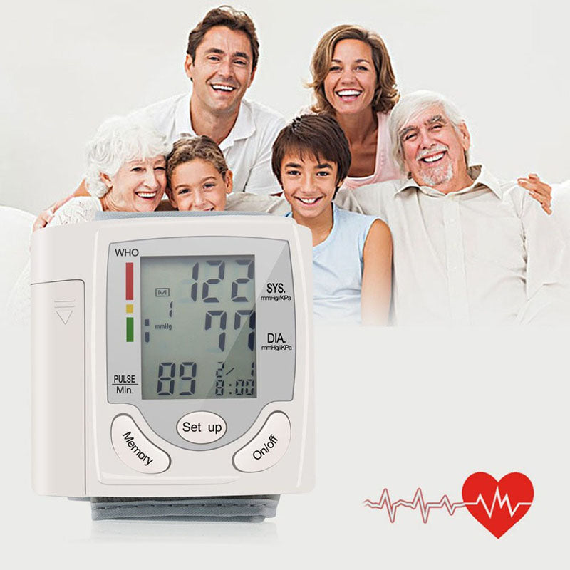family satisfy with instrument to measure blood pressure