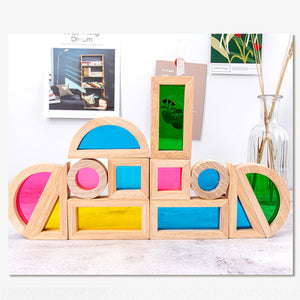 Wooden Rainbow Stacking Blocks Construction Toys Set For Ages 2+