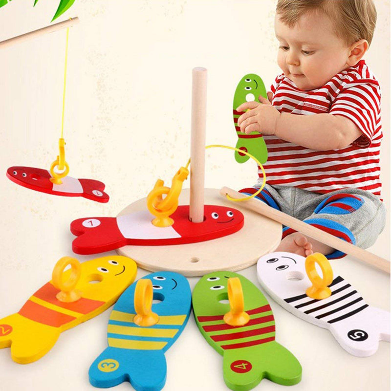 Colorful Wooden Fishing Digital Toys