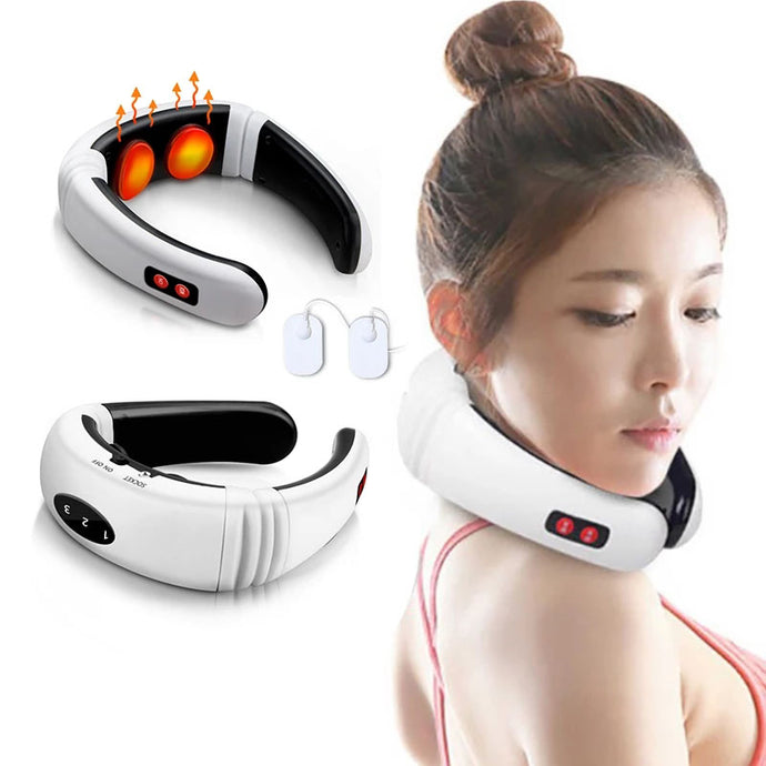 girl with Electric Neck Massager