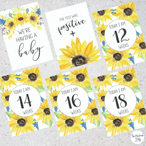 Sunflower Pregnancy Milestone Cards