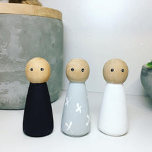 Load image into Gallery viewer, Black, White and Grey set of 3 Peg Dolls