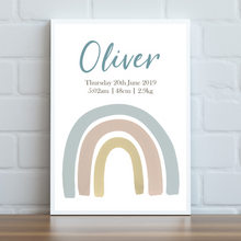 Load image into Gallery viewer, Boho Rainbow Personalised Print