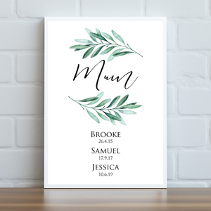 Mother's Day Personalised Print - Leafy Green Children's Names