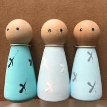 Load image into Gallery viewer, Shades of blue - set of 3 peg dolls