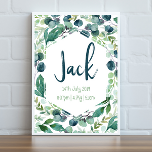 Leafy Green Personalised Print