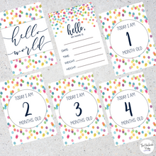 Load image into Gallery viewer, Rainbow Confetti Baby Milestone Cards