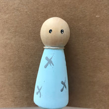 Load image into Gallery viewer, Blue Peg Doll - Grey Crosses