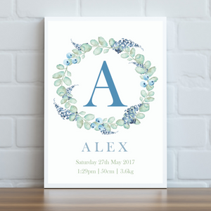 Blue & Green Leafy Personalised Print