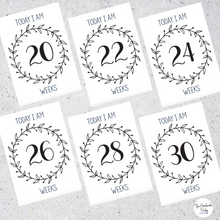 Load image into Gallery viewer, Black and White Pregnancy Milestone Cards
