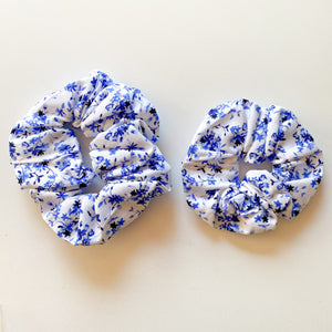 Mummy & Me Matching Scrunchies - Blue Floral