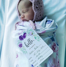Load image into Gallery viewer, Purple Floral Baby Milestone Cards