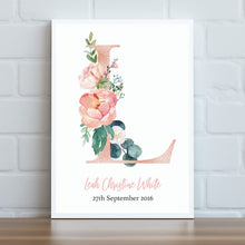 Load image into Gallery viewer, Floral Letter Personalised Print