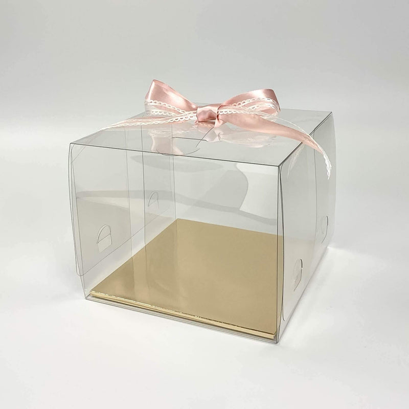 "Crystal Clear Cake Box with Handle 9.4"" - Pouches & More"