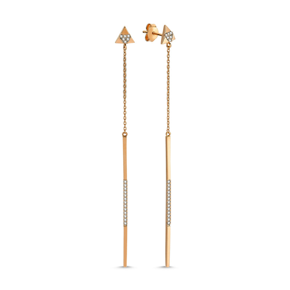 Long Gold Earrings With Diamonds