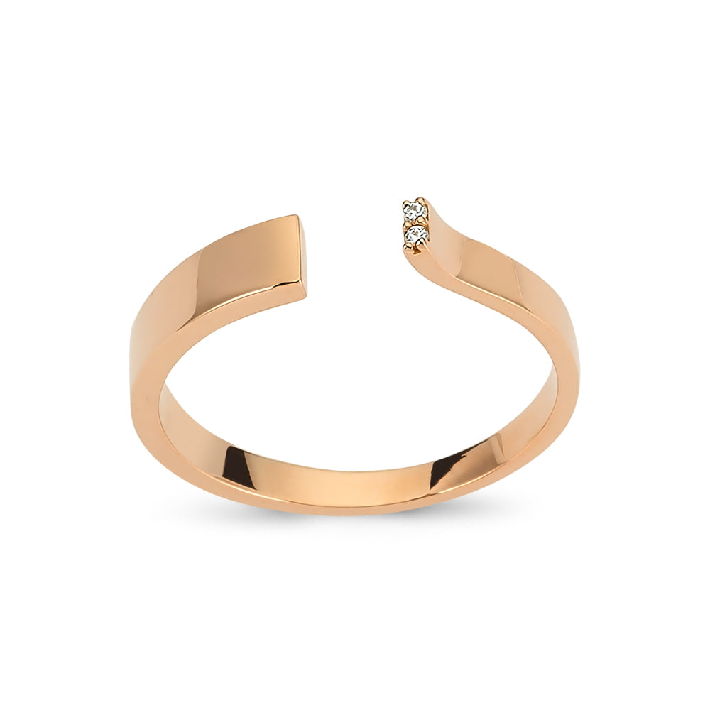 Gold Open Ring with Diamonds