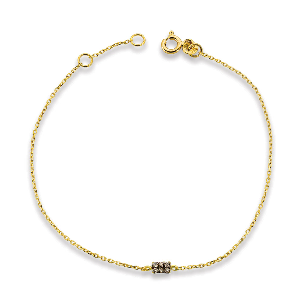 Gold Square Chain Bracelet with Diamonds