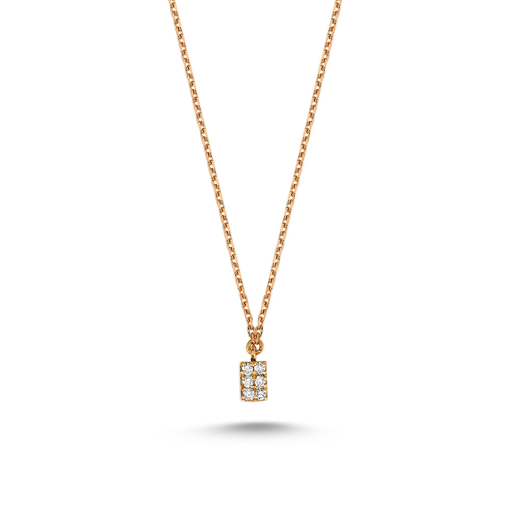 Gold Square Chain Necklace with Diamonds