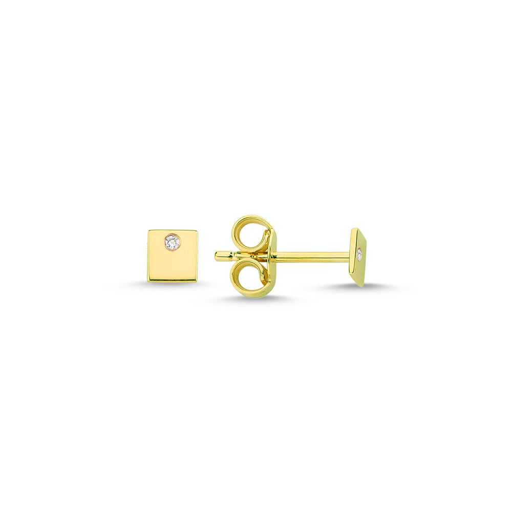 Gold Square Studs with Diamonds