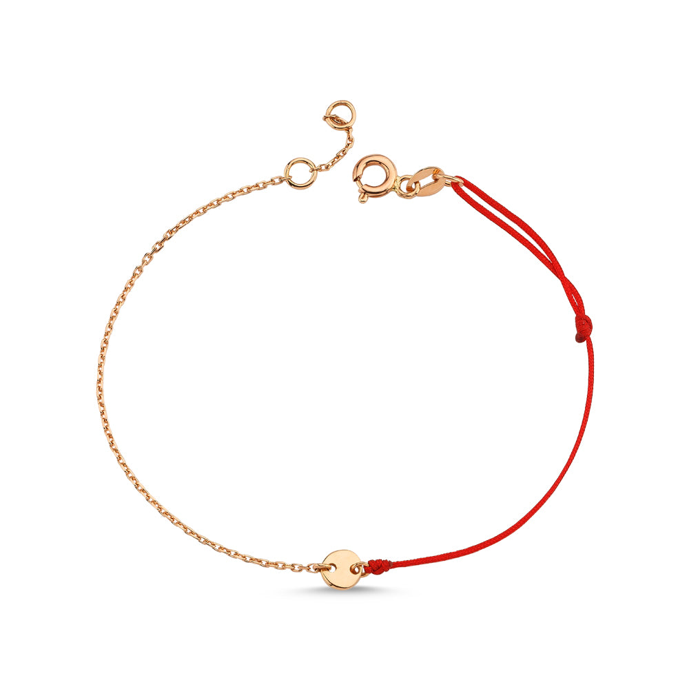 Gold Round Bracelet With Chain and String