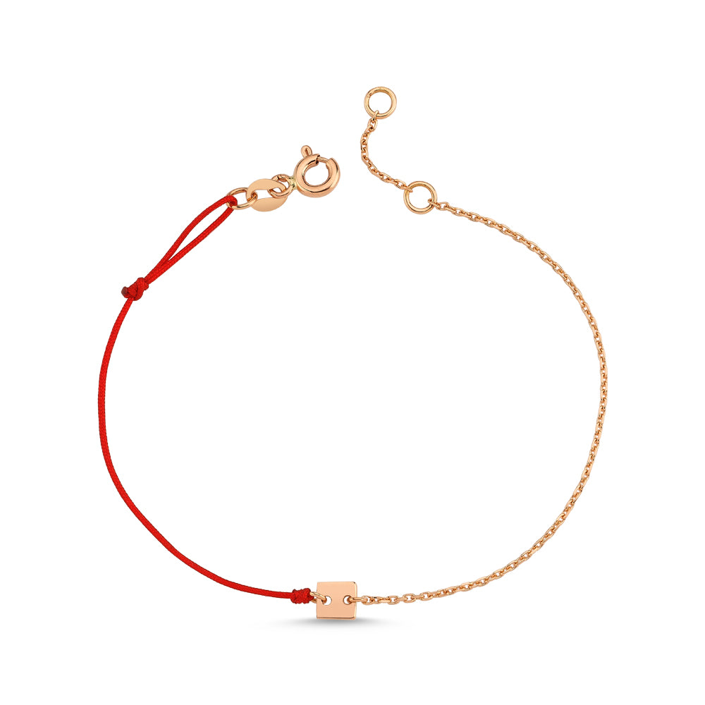 Gold Square Bracelet With Chain and String